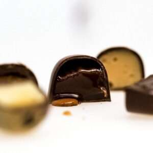 Sectional view of Mother's Day pralines showing luscious centres.