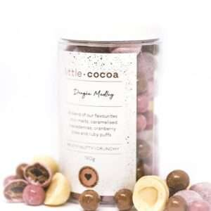 chocolate nuts and fruits / chocolate dragees in a 190g jar