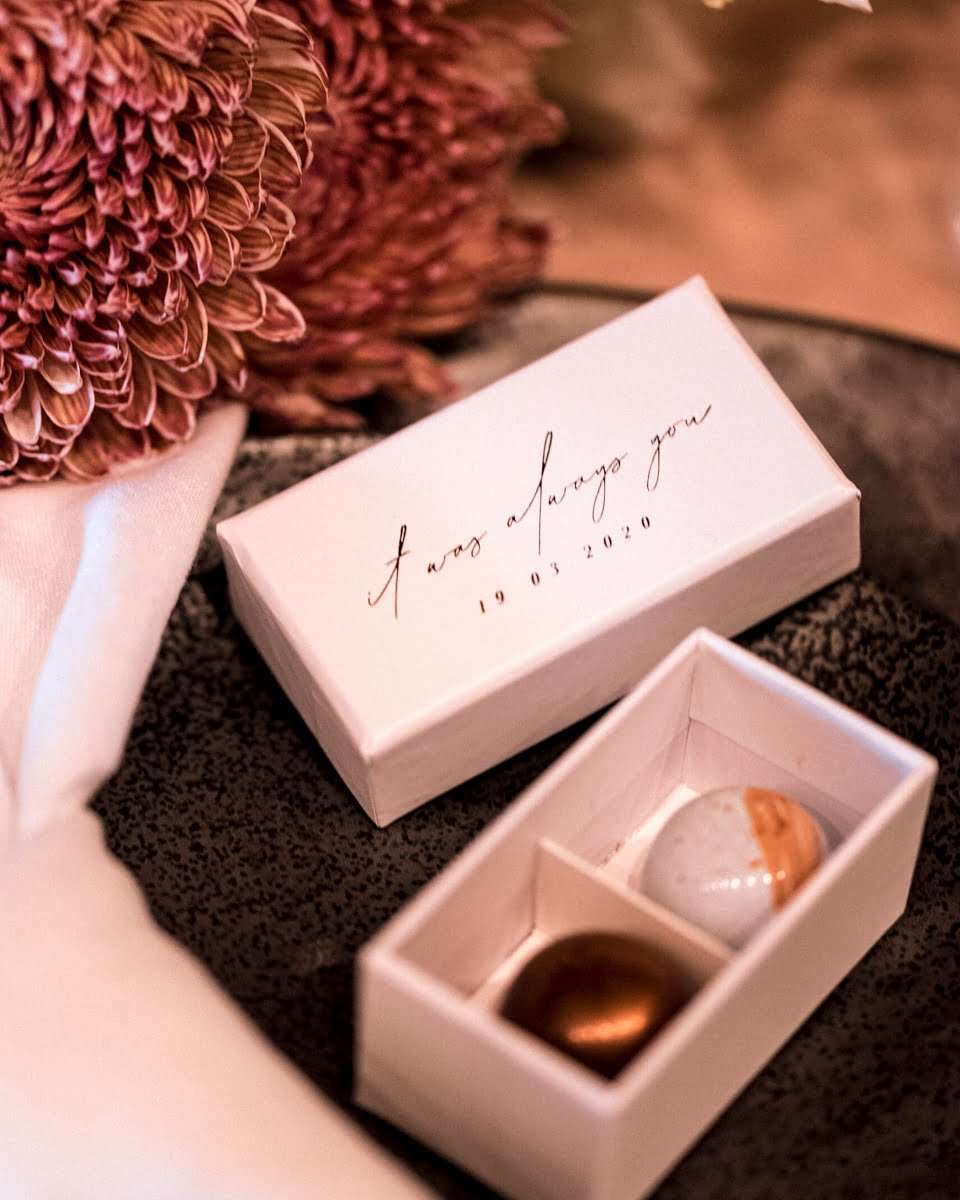 Embossing - Box of pralines with embossed cover