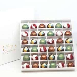 christmas gift box with thirty six hand crafted chocolate pralines